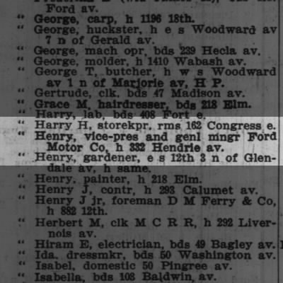 Henry Ford in Detroit City Directory