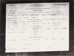 Civilian Conservation Corps papers for Thomas Craft