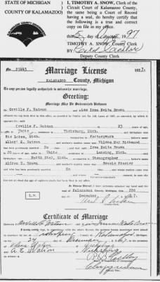 Marriage License - Orville Watson & Irma Brown
