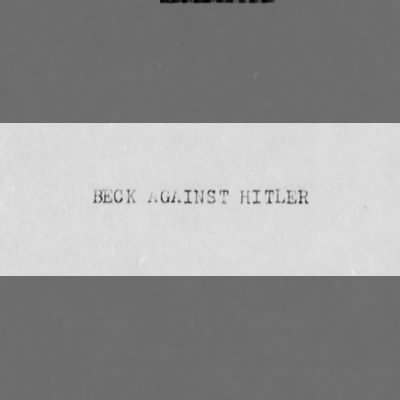 General Ludwig Beck's personal views of Hitler