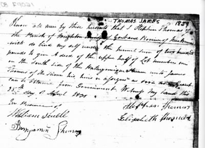 James Thomas 1859 petition for land