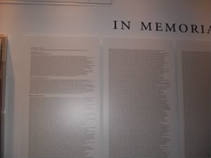 Names of the people who perished in 911 attack.