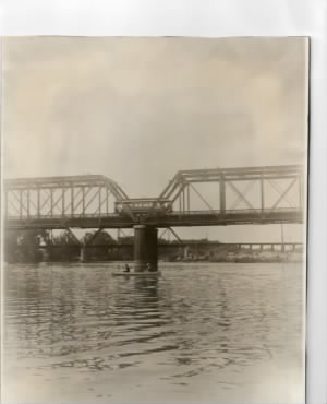 Feather River, looking south at Fifth Street Bridge.  Northern Electric Trolley car.