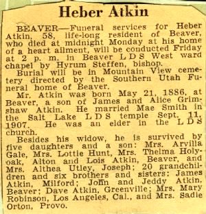 Obit. of Heber Atkin