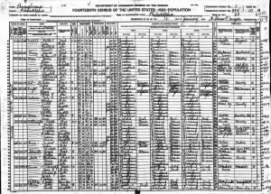 1920 Jan 12 US Census for August & Anna Baer in Philadelphia, Lines 85-86