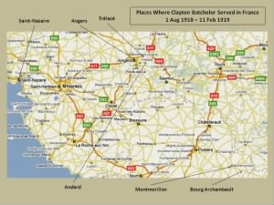 Places  in France where Clayton Batchelor Served During WW I