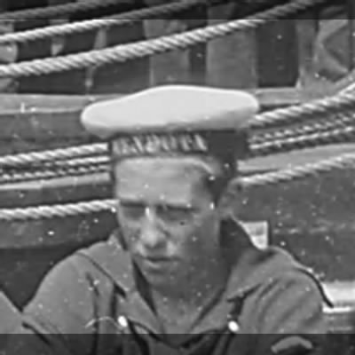 "Ship's name ""Mendota"" on sailor's hat."
