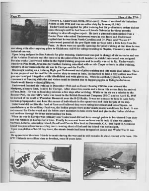 "310thBG,381stBS, Howard L Underwood, ""Men of the 57th"" Article from Bill Bierds"