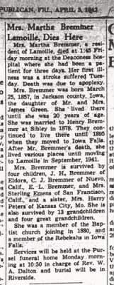 Martha Bremmer (Green) - Obit