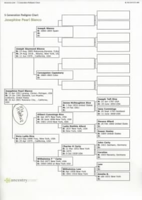 Rice and Blanco 5 Generation Pedigree Chart