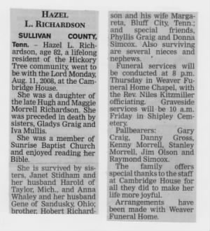 Hazel Richardson Obit