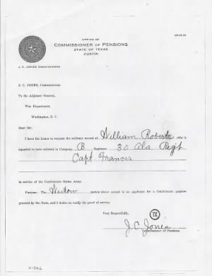 Roberts, William Widows Confederate Pension Application Texas 005.jpg