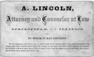 Lincoln's Business Card.