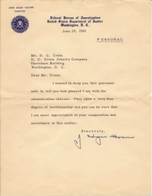 June 29, 1950 letter, J. Edgar Hoover to D.C. Crain