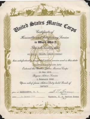 US Marine Corps Certificate of Service for Milton Martin Frisch (side 1)