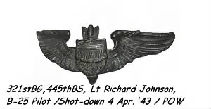 321stBG,445thBS, Lt Johnson, POW Pilot /Stulag Luft/Germany