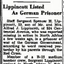 Spencer Lippincott listed as a POW