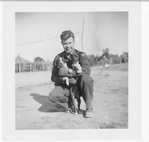 321stBG,445thBS, Capt Dan with the PUPPY - Mascot of the Squadron /Corsica, 1944