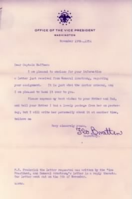 Vice-President Barkley's secretary, Flo Bratten wrote Captain Haffner, 19 Nov 1952