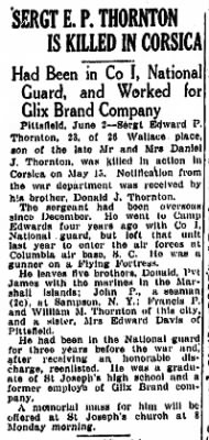Springfield Mass. News Article; Edward Thornton, KIA 15 May, 1944