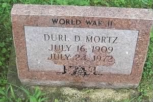 Durl D Mortz 1909-1972 Headstone photo by Charlotte Eagleson Sechrest 2010