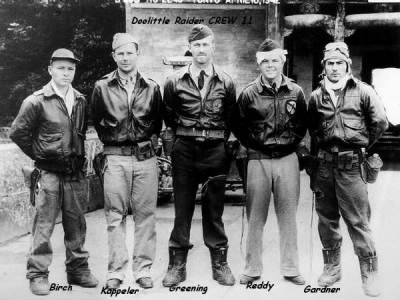 Doolittle Raider CREW 11 Kappeler is 2nd from Left. names on photo and in text below - Fold3.com