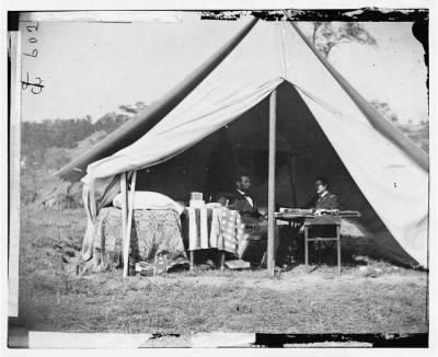 1310 - Antietam, Md. President Lincoln and Gen. George B. McClellan in the general's tent; another view › Page 1 - Fold3.com