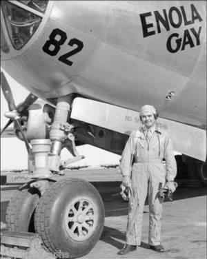 "6 Aug. 1945 Col Paul Tibbets with the ENOLA GAY B-29 -Carried ""Little Boy"""