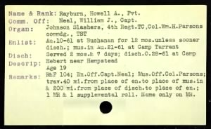 "Howell A ""Doc"" Rayburn Muster Card"
