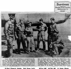 "321st BG, 447th BS, Article about the ""Shot-Down at Sea"" experience /Newspaper Article"