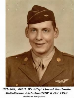 321st Bomb Group, 445th Bomb Squad, S/Sgt Howard Garthwaite, B-25 Radio/Gunner Shot-down 8 Oct.1943 POW
