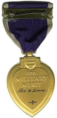 Purple Heart, 2nd Lt. Ben M. Simon