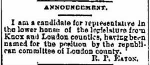 R P Eaton 1888 Declares Candidacy.JPG