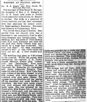 Sara Scruggs Weds S S Bogle Oct 1895 SF Chronicle.JPG