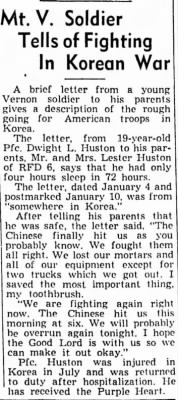Mt. Vernon, Illinois, soldier wounded in Korea