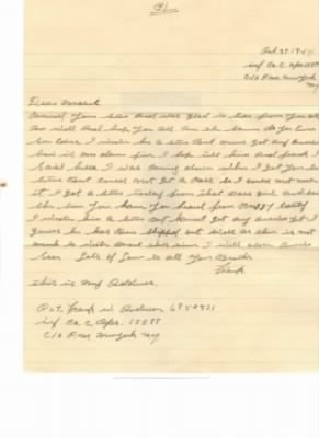 Letter from Frank W Anderson