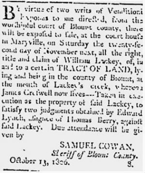 Wm Lackey 1806 Sheriff's Property Sale.JPG