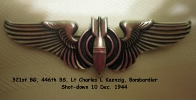 321stBG,446thBS, Lt harles Kaenzig was a Commissioned Bombardier, Shot Down in the B-25 - Fold3.com