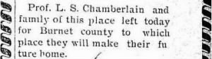 Louis Sumpter Chamberlain 1901 Moves to Burnet.JPG