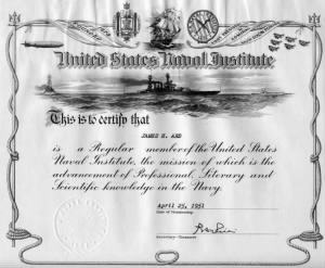 US Naval Institute Certificate