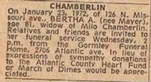Bertha Mayer Chamberlin 1972 Death Notice.JPG
