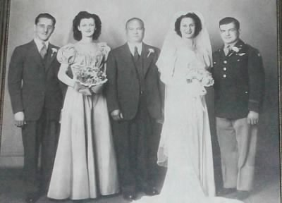 In this Photo, from the left side to the right are the following: BEST MAN : Mr. William Daviero (Beaz's Brother-in-law ,also ) ; MAID OF HONOR :Yolanda            ; FATHER OF THE BRIDE: MR. Iacobucci  BRIDE : Mrs. Angeline Josephine (Iocabucci) Aldi; BRIDEGROOM  :Mr. Beaz Aldi; Married on 6 July ,1945