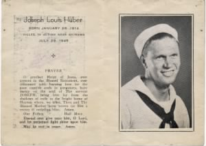 Memorial Card for Joseph Louis Huber