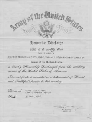 The is Paul D Hamrick MY FATHERS Honorable Discharge He was in WWII - Fold3.com