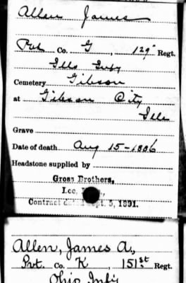 Allen, James headstone application