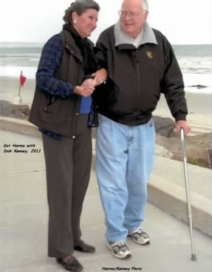 Photo about 2011, Dot Harms with Dick Kenney, 91 here..... in California.