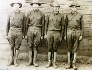 Huebner Lawrence and Harry in the Army boot camp with Ed Petry and Frank Hamilton 1917.jpg