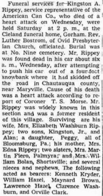 Kingston A Rippey 1947 Penn Yan Democrat Obit.JPG