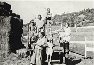 Mary Dolan and kids (except Ethel and Bernice) haywagon.jpg