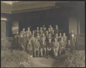 Stout and Japanese officials, 1946.jpg